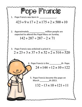 FREE~ Pope Francis Order of Operations Worksheet