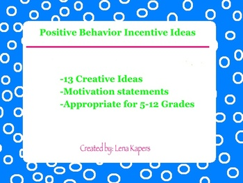 FREE Positive Behavior Incentive Ideas for Middle and High