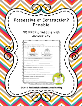 FREE Possessive or Contraction? No Prep Printable