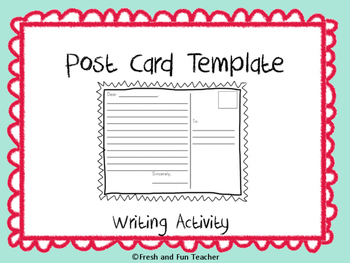 FREE Post Card Writing Activity