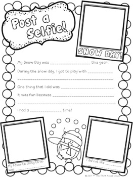 FREE Post a Selfie from a Snow Day! ~ A Low Prep Writing Activity