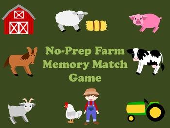 FREE Powerpoint No-Prep Farm Memory Match Game