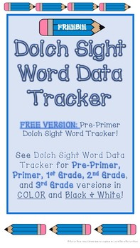 FREE Pre-Primer Dolch Sight Word Tracker