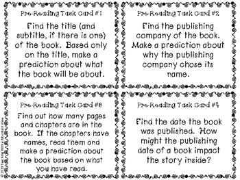 *FREE!* Pre-Reading Task Cards Mini-Set for Novel Study (Before Reading Tasks)