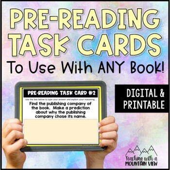 *FREE!* Pre-Reading Task Cards Mini-Set for Novel Study (B
