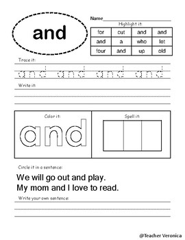 FREE PreK Sight Words NO PREP Printable Worksheets