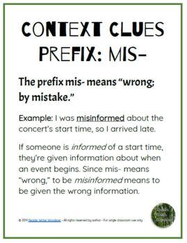 FREE Prefix Context Clues Anchor Charts