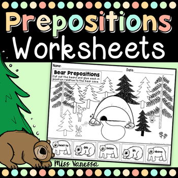 Bear Prepositions, Vocabulary Practice Worksheet: IN, ON,