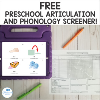 FREE Preschool Articulation and Phonology Screening Kit