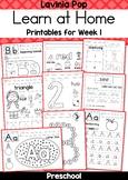 Preschool Learn at Home Week 1 Distance Learning