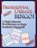FREE Presidential Debate Worksheets -- FREE Presidential Debate Bingo!