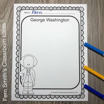 Presidents' Day Writing Center Printables George Washington & Abe Lincoln Free