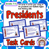 Presidents Task Cards: 20 cards with fun facts and challen