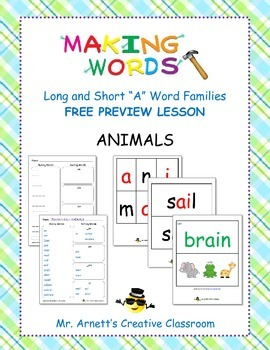 """FREE Preview Lesson - Making Words - Short """"A"""" - Animals"""