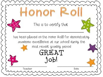 Free primary honor roll certificate by pretty much primary for A b honor roll certificate template