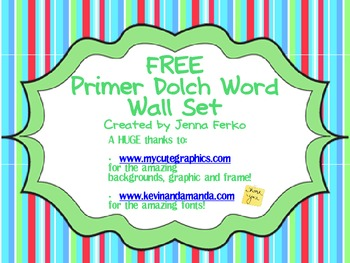 FREE Primer Dolch Word Wall Set