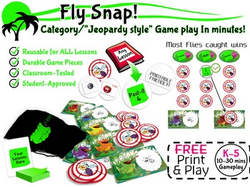 """FREE Print & Play """"Jeopardy Style"""" Game - Reusable for ANY"""
