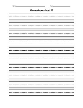 free printable always do your best dotted mid line lined paper editable