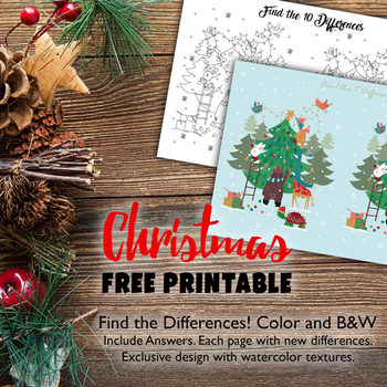 FREE Printable Find the Differences Christmas Theme 2 sheets Game