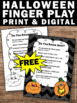 FREE Halloween Finger Play for ESL Special Education Literacy Center Activities