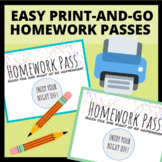 FREE Printable, Colored Homework Passes