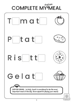 FREE (Eng/Math) Italian Food Activity Pack for Preschoolers (Print Friendly)