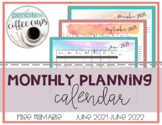 FREE Printable Monthly Calendar 2021-2022