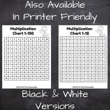 Free Printable Multiplication Chart Printable Multiplication Table