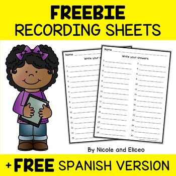 FREE Printable Recording Sheets for Google Classroom™ Resources