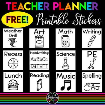 photo regarding Free Printable Teacher Planner titled No cost Printable Instructor Planner Stickers