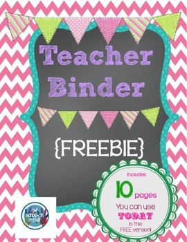 FREE** Printable Teacher's Binder ~ chalkboard style by Lessons in ...