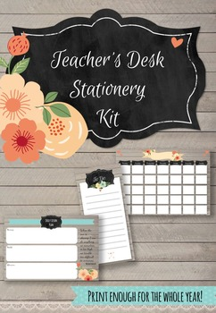FREE Printable Chalkboard Floral Teacher Desk Stationery Kit!