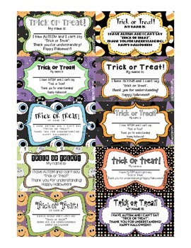 FREE Printable Trick or Treat I Have Autism Cards for Kids with Autism