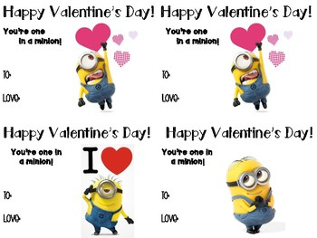 image about You Re One in a Minion Printable called Absolutely free Printable Valentines Working day Playing cards