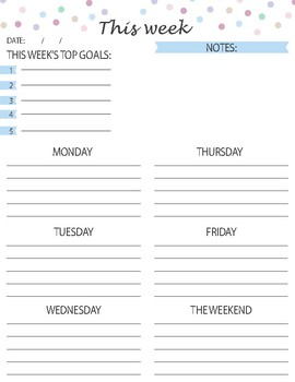 FREE Printable Weekly Planner - Bluella