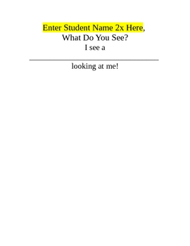 "FREE Printable for Use with ""Brown Bear, Brown Bear What Do You See?"""