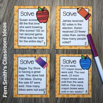 FREE Problem Solving with Addition and Subtraction Task Cards and Answer Sheet