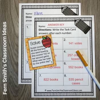 3rd Grade Go Math 1.12 Problem Solving Addition & Subtraction Task Cards  Freebie