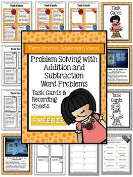 Problem Solving Addition & Subtraction Task Cards 3rd Grade Go Math 1.12 Freebie