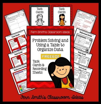 Problem Solving and Using a Table to Organize Data Task Cards Freebie