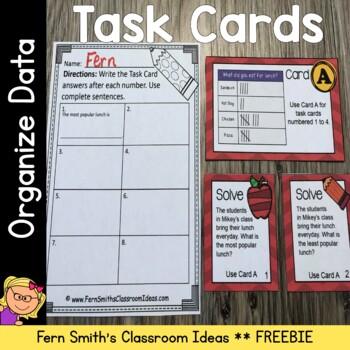 3rd Grade Go Math 2.1 Problem Solving & Organizing Data Task Cards Freebie