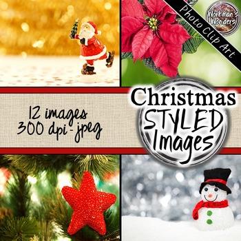 Photo Clip Art (12 images/3 sizes) - Christmas Styled Images