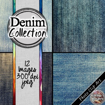 Photo Clip Art (12 Images/4 Sizes) - Denim