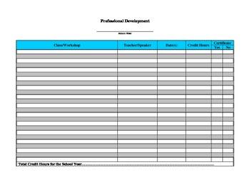 FREE - Professional Development Form