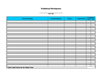 FREE - Professional Development Form