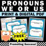 FREE Pronouns Task Cards First Grade {We or Us} Pronoun Games & Activities