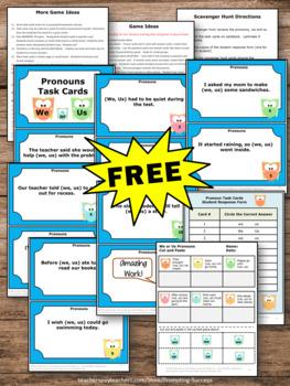 FREE Pronouns Task Cards First Grade {We or Us} Pronoun Games & Activities