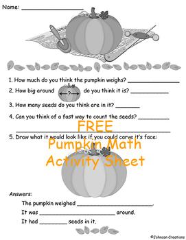 FREE Pumpkin Math Activity Sheet