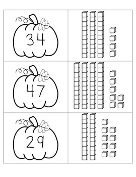 FREE Pumpkin Place Value - Base 10 Double Digits