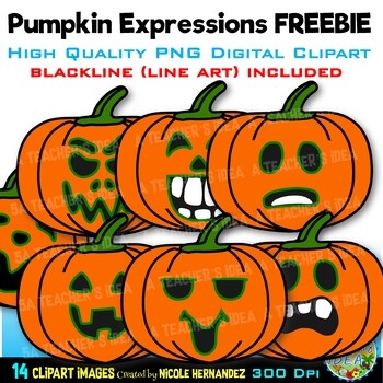 FREE Pumpkins Expressions Clip Art for Personal and Commercial Use